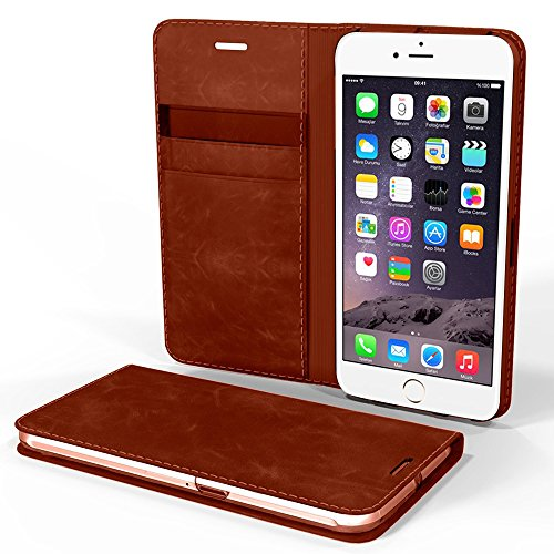 iPhone 7 Case, Cellto [Glux] Tagebuch Case Premium PU-Leder-Qualitäts-Mappen-Abdeckung mit Kartenslots für Apple iPhone 7 - Brown Braun