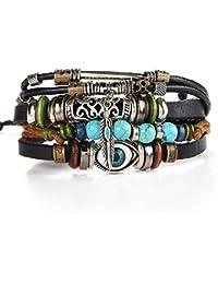 Uhat® Bracelet Cuir Oeil Bleu Style Vintage Ethnique Multi-rangs Réglable Breloques En Bois Ajouré Bracelet Fait à main