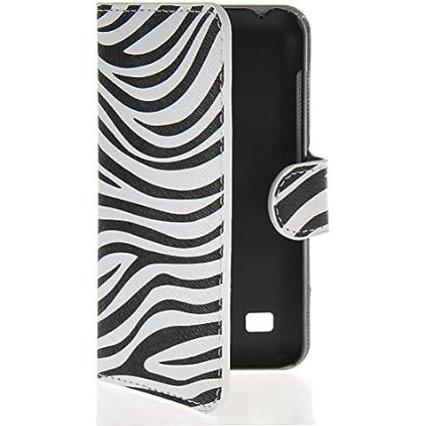 MOONCASE Zebra Custodia in pelle Protettiva Portafoglio Flip Case Cover per Huawei Ascend Y550
