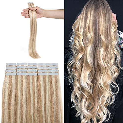 Extension adesive capelli veri biadesivo biondo cenere mix biondo #18/613- capelli lisci lungano 50cm, 2.5g/fascia 50g da confezione - 100% remy human hair tape in umani