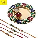 #9: Mela Rakshabandhan Rakhi with Decorative Pooja Plate and Kumkum Chawal for Men/Boys- Set of 3