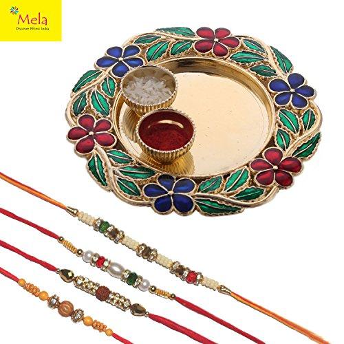 Mela Set Of 4 Rakhi With Decorative Pooja Plate And Kumkum Chawal...