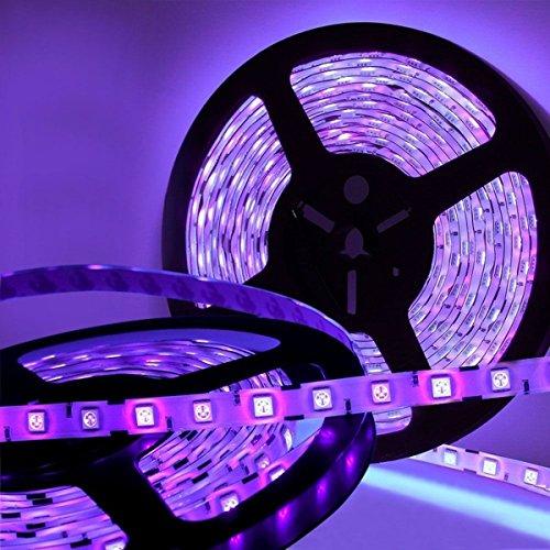JoyGood wasserdichter UV Schwarzlicht LED Streifen 5 Meter mit 300 Stück 5050 UV-SMD, 12V5A Netzteil und IP65 Zertifizierung. Lichterkette / Lichtstreifen