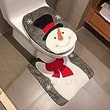 Frmarche Weihnachten Badematten Set Toiletten Sitzbezug Toilettendeckelbezug WC Deckel Weihnachtsschmuck (B)
