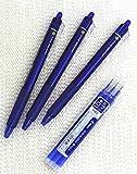 Pilot FriXion Ball Knock stylos de l'encre du gel effaçables escamotables, point fin, - 0.7mm - Encre Bleue - ensemble de la Valeur de 3 & 3 Paquet de la Recharge du Stylo de l'Encre du Gel (Avec Notre Magasin Description du Produit Originale)