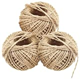 FiveSeasonStuff 3 Stück Natur-Jute-Schnur, Seil, Schnur Zum Basteln, für Geschenkverpackungen Verpackung Dekoration DIY Kunst und Handwerk 90 Metres (98 Yards)
