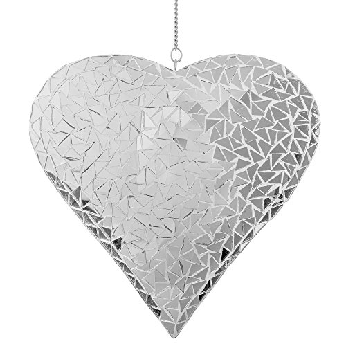 Large Silver Mosaic Mirror Heart Garden Wind Spinner / Hanger