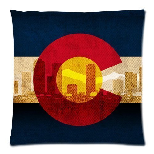 rongxincailiaoke Kissenbezüge Colorado State Flag - Denver Skyline Pattern Cushion Case - Throw Pillow Case Decor Cushion Covers Square with Hidden Zipper Closure - 18x18 inches, One-Sided Print