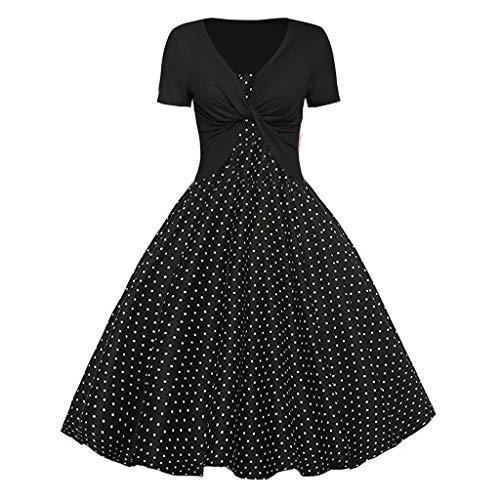Auied Damen Sommer Fresh Wave Point Print Kleid Sling Pullover Zweiteiliges Set Abendkleid -