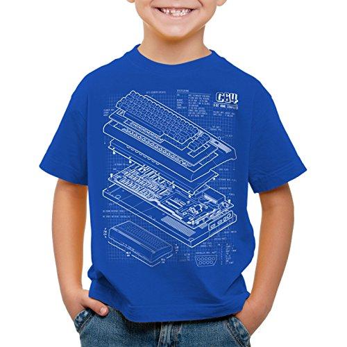 style3 C64 Heimcomputer T-Shirt für Kinder Classic Gamer, Farbe:Blau;Größe:140