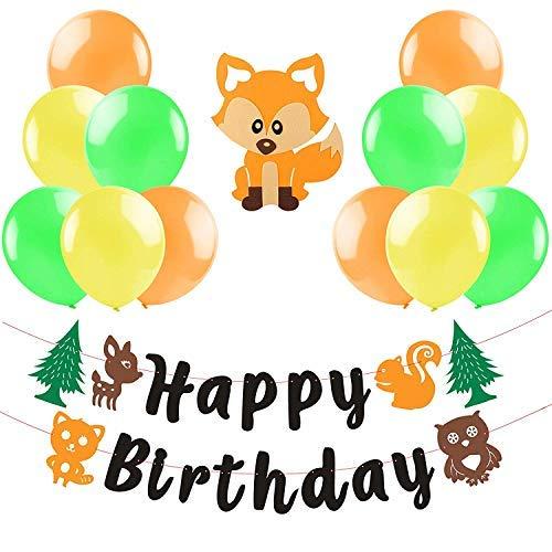 BEYUMI Fox Geburtstag Banner Wald Party Dekorieren Eichhörnchen Waschbär Eule Deer Baum Bunte Ballons für Kindergeburtstag