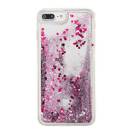 "MOONCASE iPhone 7 Plus Coque, Glitter Sparkle Bling Liquide Transparent Étui Coque pour iPhone 7 Plus 5.5"" Soft TPU Gel Souple Case Housse de Protection (Love flower Pattern) Violet"