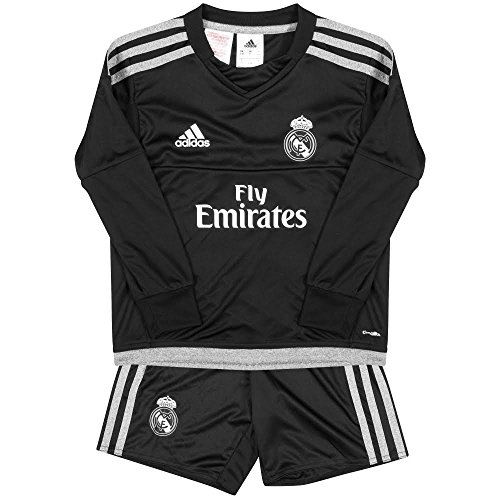 adidas Real Madrid H GK Mini - Children s Football Outfit Real Madrid Home Goalkeeper Black Grey 5 Years