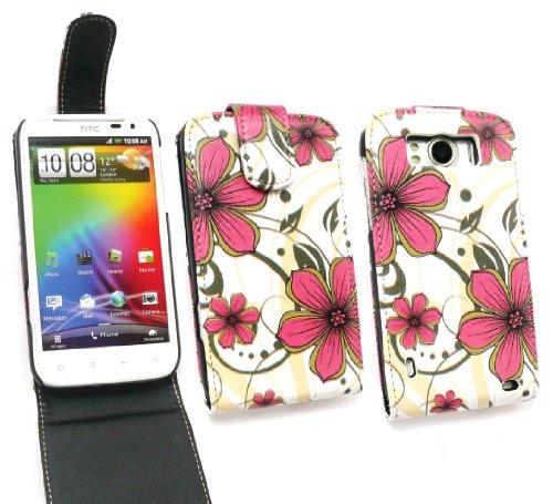 Emartbuy Htc Sensation Xl Luxus Pur-Leder Flip Case / Cover / Tasche Pink Hawaii-Blumen-Und Lcd Displayschutz