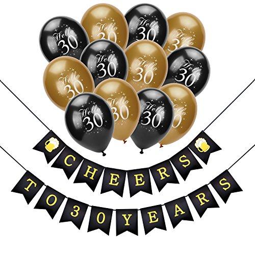 30. geburtstag dekoration, Konsait Cheers zum 30. Geburtstag Girlande, Celebration 30. geburtstag luftballons Latex Ballons Gold und schwarz für seine oder ihre 30 Jahre alt Geburtstagsfeier
