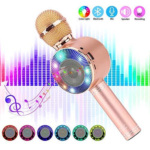 SaponinTree Micrófono Karaoke Bluetooth, 4 en1 Microfono Inalámbrico Karaoke Portátil con Luces...