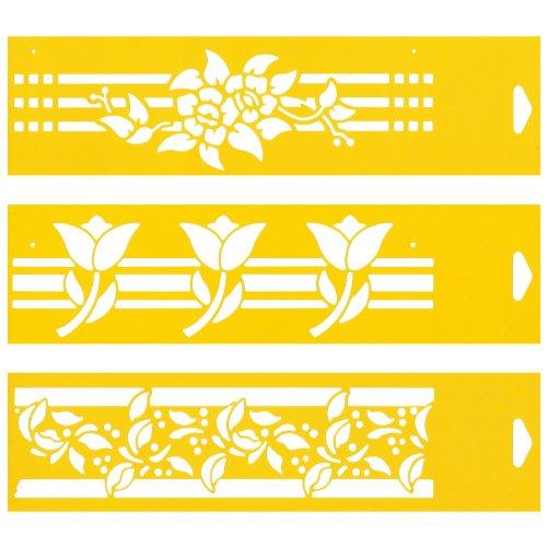 30cm x 8cm Pochoir (Jeu de 3) Réutilisable en PCV Plastique Transparent Souple Trace Gabarit - Traçage Illustration Conception de Gâteau Murs Toile Tissu Meubles Décoration Aérographe Airbrush - Feuilles Rayures Feuille Fleurs