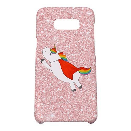 Mr. & Mrs. Panda Hülle, Handycover, Samsung Galaxy S8 Plus Handyhülle Einhorn Superman - Farbe Glitzer Rosa