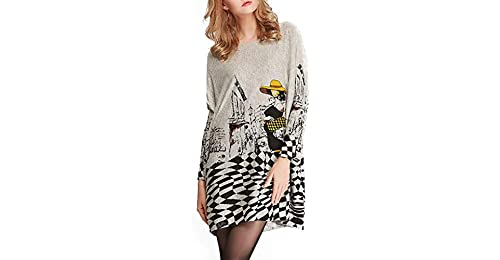 3859254dd23 Hungrybubble Women s Long Sleeve Pattern Printed Round Neck Sweater Dress  (Color   Grey
