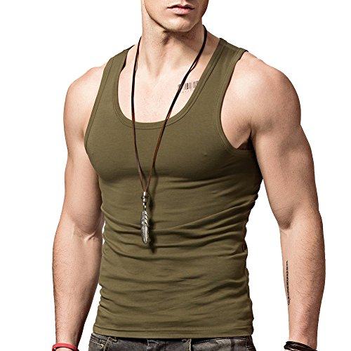 XDIAN Herren fitness tank top Kompressionsshirt Baumwolle elastisch unterhemd für männer Muskel Baselayer Ärmel Amy Green