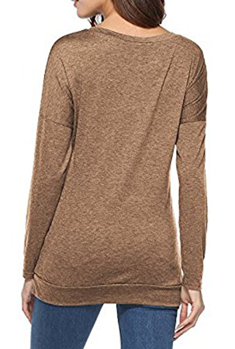 BLACKMYTH Femme Col Rond Manches Longues Chemise Casual Tunic Avec Bouton Chemisier Pullovers Tops Kaki