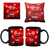 TYYC Birthday Gifts For Wife, Be Mine I Will Always Love You Forever Mugs For Wife Gift Combo Hamper Set Of 3 With Mug, Cushion Cover And Coaster, Black