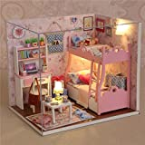 OUTERDO Wooden DIY Dollhouse Mini Handmade Kit For Girls Cabin Fairy Tale Home Decoration House