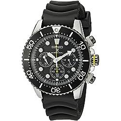 Seiko SSC021P1 Solar Diver's - Wristwatch men's, Rubber, Band Colour: Black