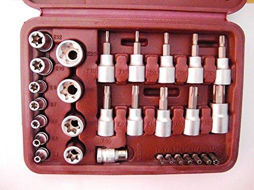 Preisvergleich Produktbild 29-tlg Steckschlüssel Satz Torx Innen - Außen Bits Nüsse Set