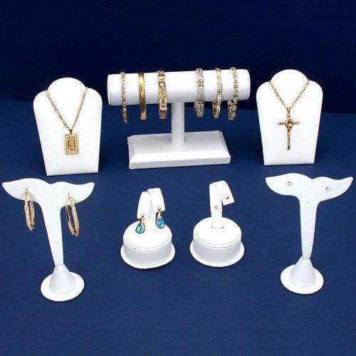 Findingking Blanc Boucles d'oreilles Collier Bracelet Bijoux Affichage 7 pièces