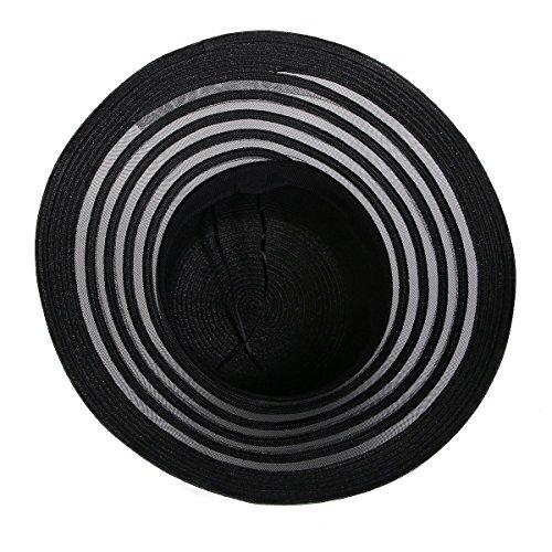 Le Printemps Et L'été Mme Chapeau De Jazz Chapeau De Voyage En Plein Air Bordure Chapeau De Paille Vacances De Chapeau De Plage Black