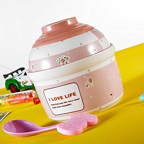 Panbado Porcelain Cute Cartoon Noodles Bowl Novelty Ceramic Lovely Serving Cereal Bowl Noodles Bowl Rice Bowl for Children Kids (Pink)