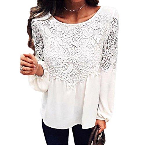 PAOLIAN Frauen Damen Tops Mode Langes Hülsen T-Shirt Spitze Einfarbig Weiß Bluse (S, Weiß) (Lange Dolman)