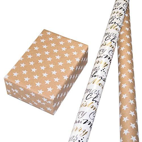 Geschenkpapier Weihnachten Set 2 Rollen, Motiv Nova braun Sternen-Design aus weiß-silbernem Reliefglitter auf naturbraunem Fond + Motiv Wonderful in gold-silber-schwarz mit multifarbigem Glitter