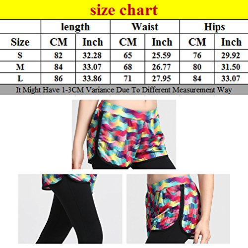 Zhhlinyuan Sexy Womens Fake two Tights Running Yoga Pants Workout Trousers LWQ-0047 Multicolore