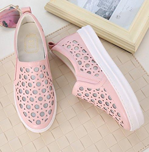 Sommer Frühling Damen Hohl Mesh Atmungsaktive Modische Stil Sneakers Lässige Dicke Sohle Plateau Slip On Halbschuhe Pink