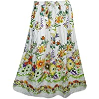 Summer Gypsy Ladies Skirts Floral Printed Bohemian Beach Skirt S/M, (White-2)