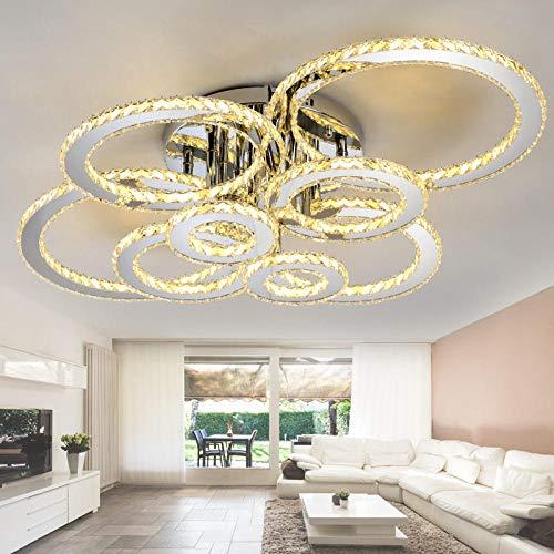 Kristall Chandelier Lichter Lampen Für Wohnzimmer Lichter Schlafzimmer Kronleuchter Beleuchtung Deckenleuchten Bernstein Kristall 6 Ringe L82xW52CM Warmweiß -