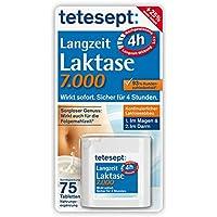 tetesept Langzeit Laktase 7.000 Laktase-Tabletten/Mit 4 Stunden Langzeit-Depot - kontinuierlicher Laktoseabbau in Magen & Darm - wirkt sofort/1 Dose à 75 Stück [Nahrungsergänzungsmittel]