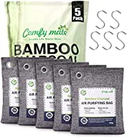 5 Pack Bamboo Charcoal Air Purifying Bags with Hooks,Charcoal Bags Odor Absorber for Home,Odor Eliminator,Clos