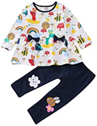 Chennie 2 Piezas bebé niña Primavera Ropa Arco Iris Camisa Bowkont Tops + Manga Larga Pantalones Pantalones Outfits