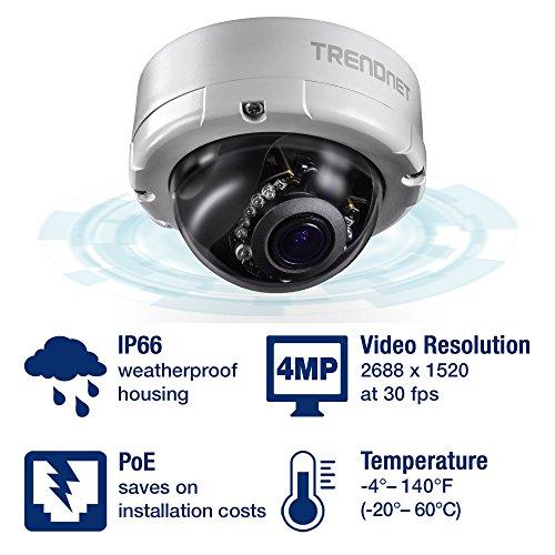 TRENDnet Indoor/Outdoor 4 Megapixel, Varifokal PoE IR Dome Netzwerk Kamera, Auto-Fokus, Manuelles Pan/Tilt, TV-IP345PI