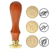 Mogoko, timbro vintage per sigillo di ceralacca, con testa in ottone e manico in palissandro (3 lettere) Letter M N O