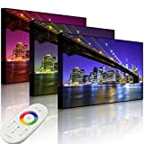 Lightbox-Multicolor | Beleuchtetes Bild | Skyline von Manhattan | 60x40 cm | Front Lighted
