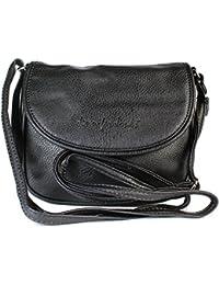 Kleine Damen Handtasche Umhängetasche 18 x 14 cm (schwarz)