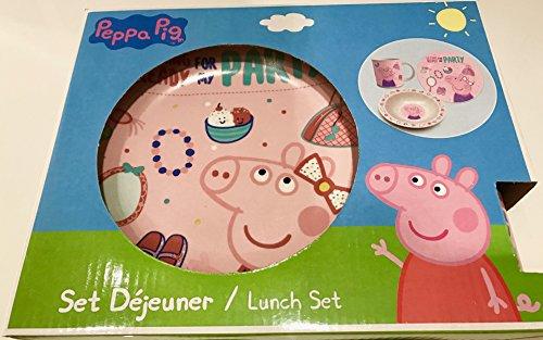 Peppa Pig Lunch Set–Peppa Pig Party-Szene Tasse Teller & Schüssel-Set–Peppa Pig Abendessen Set–Geschenkidee (Peppa Pig Lunch)