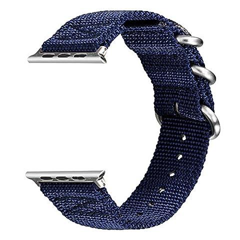 V-MORO Apple Watch Armband 42mm,Woven Nylon Gurt Ersatz Handgelenk Uhrband Uhrenarmband Erstatzband Uhren-Armband für Apple Watch Series 2 und Series 1 Apple Watch Series 2 and Series 1 Sport, Hermes, Nike+, Edition (Navy Blue, 42mm)