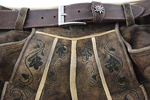 Trachtengürtel Original Trachtenkönig Herren zur Lederhose mit Edelweiss (120 cm, Dunkelbraun (Vollrindleder))_TK01_01_120 - 6