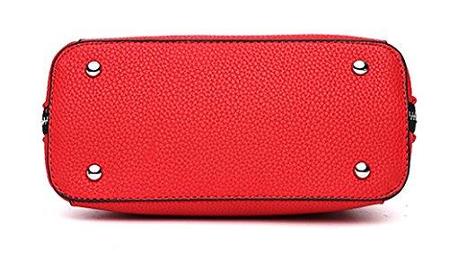 NUCLERL Mädchen Handtasche für Schulfrauen Faux Leder Einkaufstasche mit doppeltem Reißverschluss Kaffee Pink