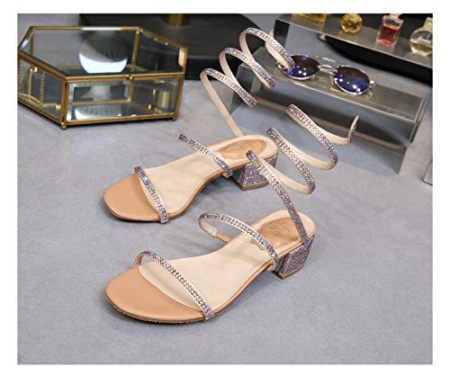 Shukun Sandalen für Damen Strass Schlange-förmigen Wicklung Sandalen weibliche römische Schuhe Fee dick mit runden Kopf Persönlichkeit Sommer offener Zeh